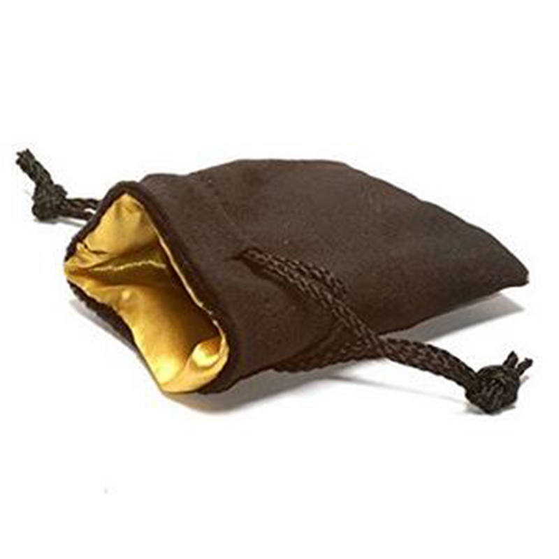 "Wholesale 3.75X4"" Size Black Velvet Dice drawstring Bag with Gold Satin Lining"