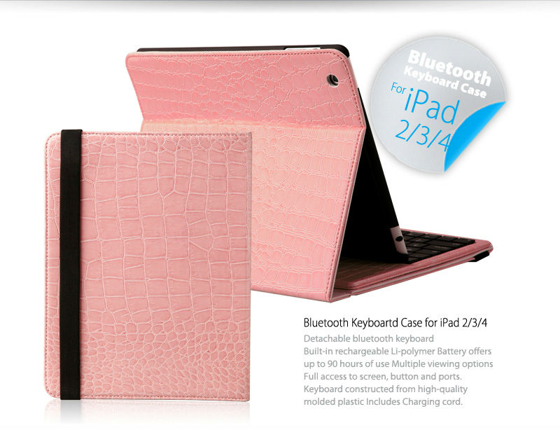Hot iFans wireless Detachable leather Bluetooth Keyboard Case for iPad2/3/4