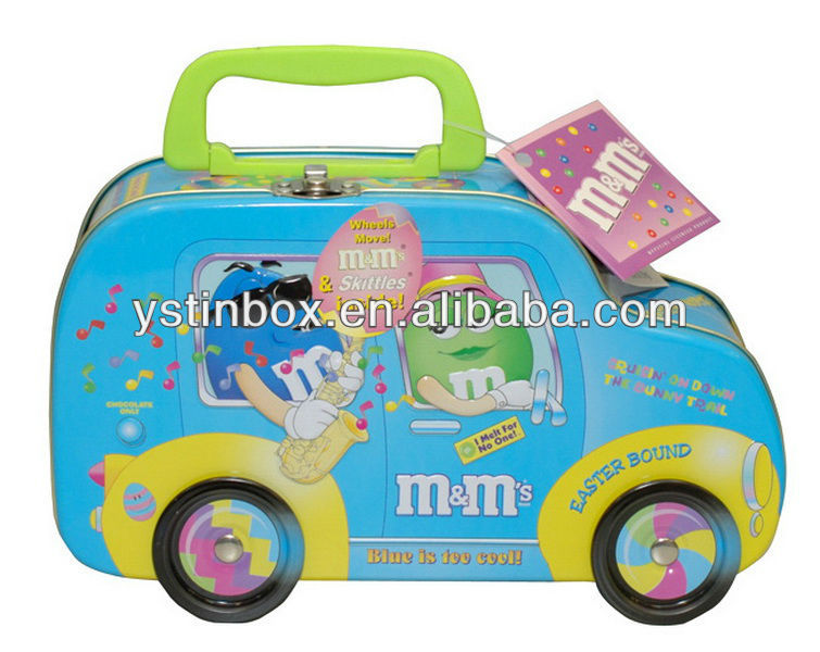 Wholesales custom car shape metal lunch boxes with lock for promotion