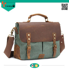 Custom cotton canvas man crazy horse leather fashionable shoulder bag in china