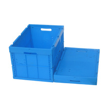 66L folding (collapsible) vented plastic crate with ergonomic lock handles for produce growers and distributors