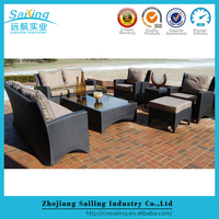 New design rattan poly wicke apartment patio garden furniture set