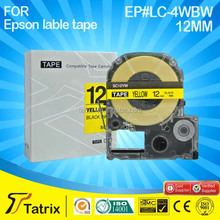 Black on yellow cheap label printer tape 12mm SC12YW compatible for Epson/Kingjim