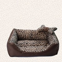 Wild Leopard Fashion Small Dog Sofa Bed with Dog Bone Shape Pillow