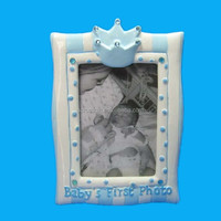 Modern handmade ceramic photo frame with crown decoration