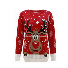Wholesale Snow Flakes Star Rudolf Xmas Knitting Patterns Top Custom Ladies Reindeer Christmas Jumper Sweater