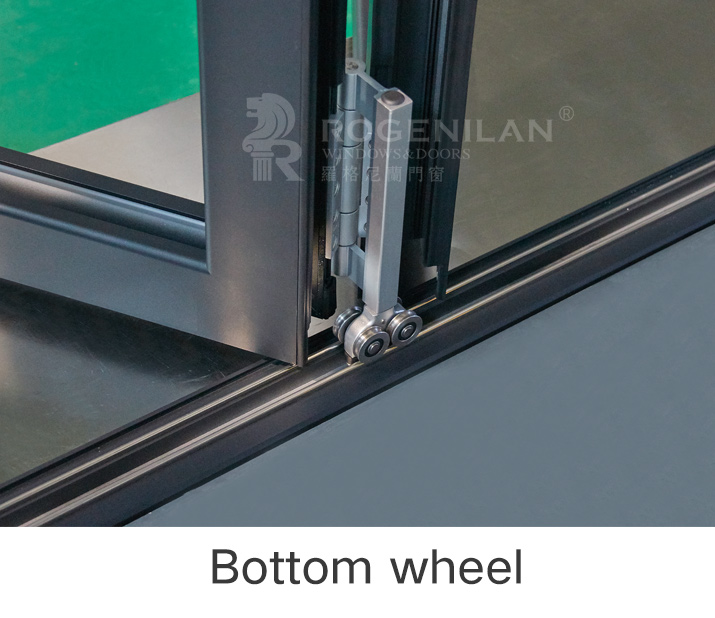ROGENILAN 75# Aluminium Double Glass Sliding Folding Door for Entrance