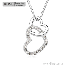 White Gold Plating rhinestone double heart Pendant Necklace Jewelry Venus