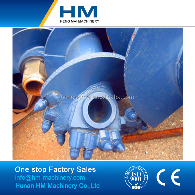 Pile Foundation Rotary Drilling Tools For Bauer Type CFA Continuous Flight Auger With Rock Head