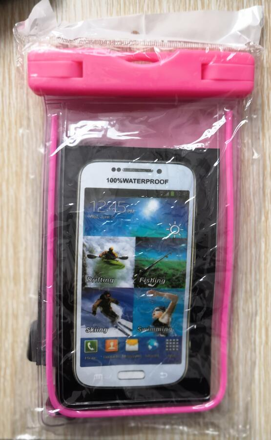 pvc mobile cell phone waterproof plastic polyester sports bag for phone package