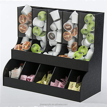 jisen k-cup starbucks acrylic Coffee Shop Organizer Black Acrylic 4 Compartments Condiment Holder