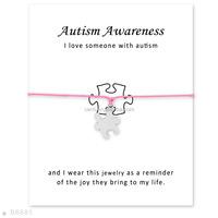 Autism Awareness bracelet adjustable wax cord bracelet
