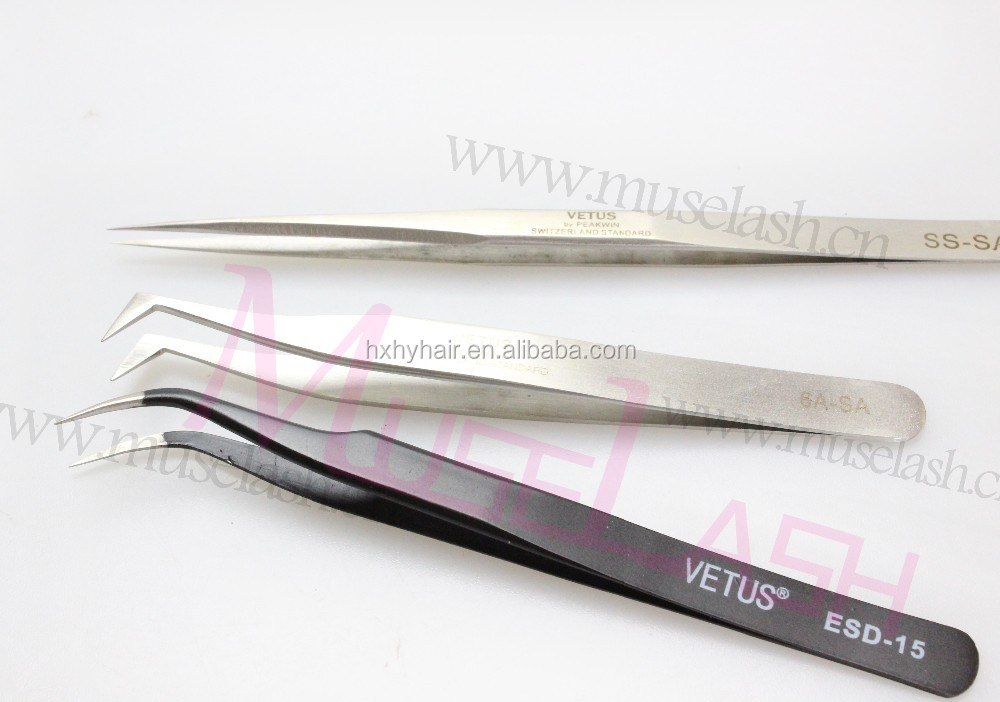 2016 hot sales Colored eyelash steel tweezers for Eyelash extension with custom LOGO