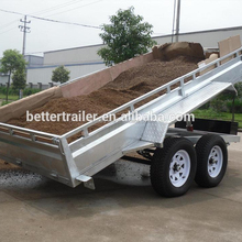 tandem truck trailer dual axle electric drum brake and manual brake,hydraulic cylinder tipping trailer