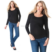 Long Sleeved Black Nursing Tops Tunic Maternity Breastfeeding Clothes Wholesale