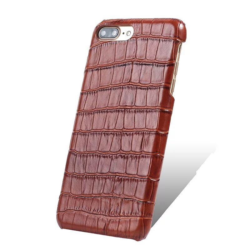 wp1029b Brown Leather Crocodile Pattern Phone Case Cover for Iphone 6