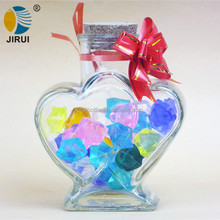 pretty heart shape wish glass bottle/ small decorative lucky stars glass candy jar for wedding