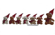 Christmas Gifts Soft Plush Animals Toys Dog and Bear with Christmas Hat