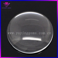 Clear flat back round 50mm glass stone cabochon made in China
