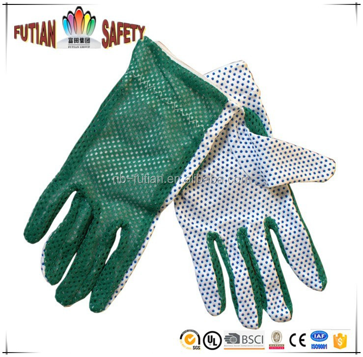 FTSAFETY 100% POLY COTTON GREEN gardening glove WITH PVC DOTS for safety working
