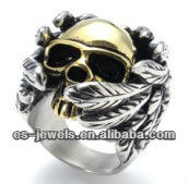 Fashion Stainless Steel Skull Biker Gold Wing Rings