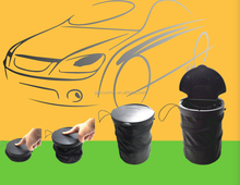 Universal Traveling Portable Car Trash Can - Black Collapsible Pop-up Leak Proof Trash Can