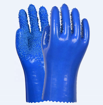 HTR soft anti abrasion & slip resistant pvc safety soft gloves with seamless cotton liner