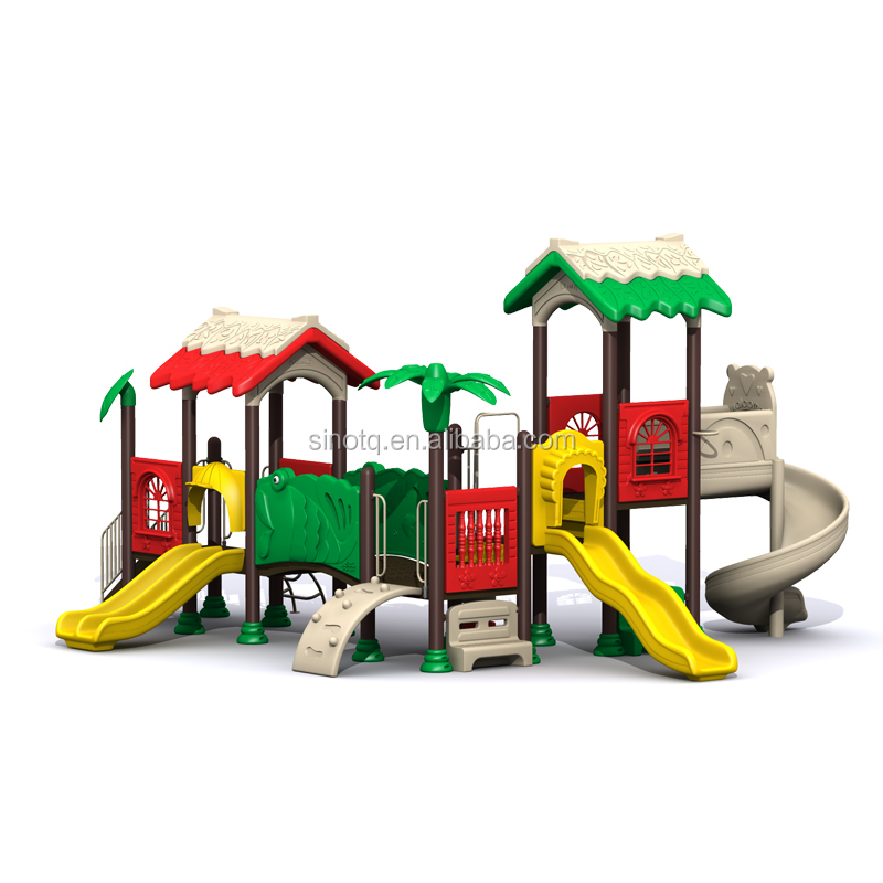 Kids Outdoor Plastic Playground Tunnels with Slide and Castle Roof