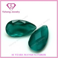 Water Drop Shape European Fancy Faceted Briolet Cut Synthetic Cateye Stone