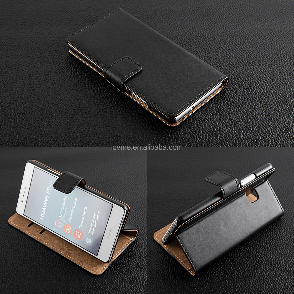 Luxury Genuine Real Leather Flip Wallet Book Stand Case For Huawei P9 Lite