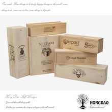 HONGDAO Customized unfinished high quality popular fashion antique cheap sliding wooden wine boxes