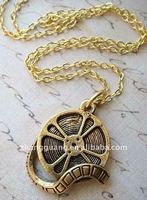 Gold Plated FILM MOVIE REEL Charm Necklace