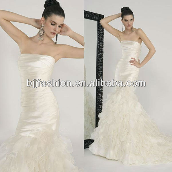 Latest Design Strapless Ruffle Mermaid Cut Wedding Dress 2013