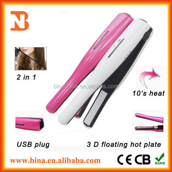 2015 Fashion rechargeable cordless LCD Ceramic Hair Straightener