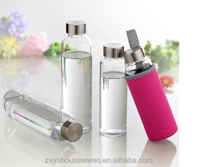 360ml hot selling healthy leak-proof crystal glass insulate sports bottle with sleeve