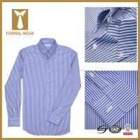Hot Stylish 100% cotton Striped Blue latest shirt pattern for men