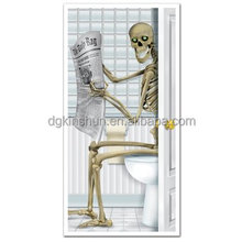 halloween Skeleton Restroom Door Cover Party Accessory 30*60''