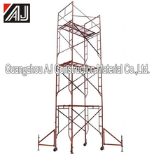 Light weight steel scaffolding material with removable wheels and ladders
