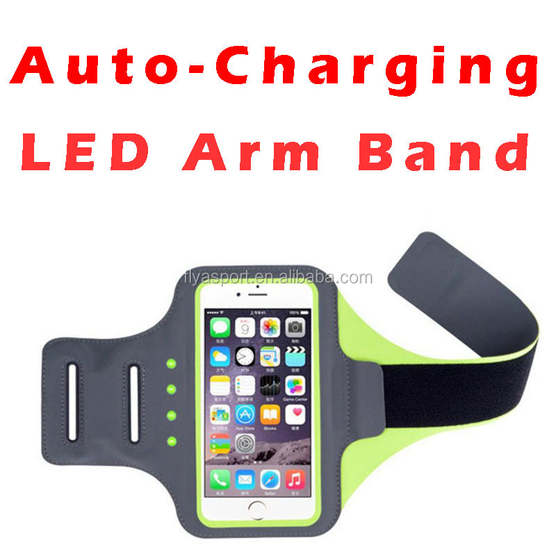 New arrival Automatic charging led touchscreen armband for safety night running ,dog working,cycling