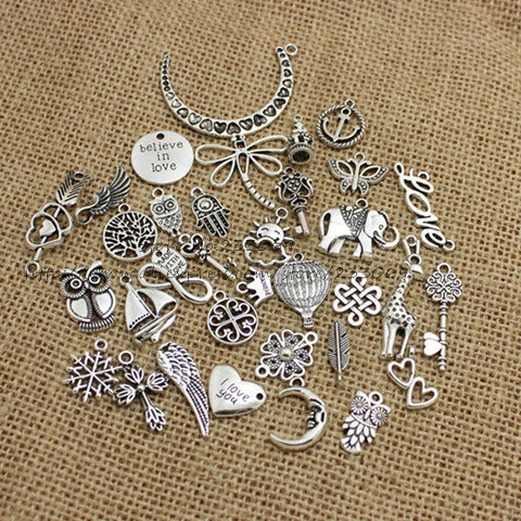 100pcs/lot Mixed Antique Silver Plated European Bracelets Charm Pendants Fashion Jewelry Making Findings DIY Charms Handmade 345