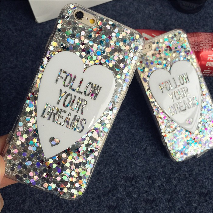 Heart Design Glitter Bling Style tpu Case Shell for iPhone 6 6S 6 Plus