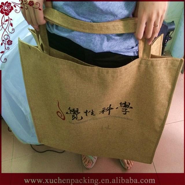 Hot Sale Fashion Promotional 2015 Whole Sale Jute Linen Tote Bag