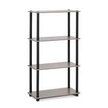 Turn-N-Tube 4-Tier Multipurpose Shelf Display Rack 99557GYW/BK, French Oak Grey/black