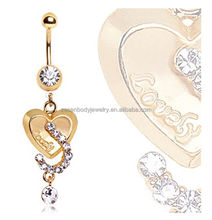 Sexy Clear Crystal Heart Shape Gold Chain Dangle Belly Ring Navel Piercing Body Jewelry