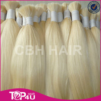 Wholesale 100% top quality full cuticle double drawn remy european hair bulk color blond