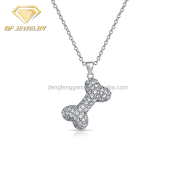 Fashion Silver Diamond Cubic Zirconia Dog Bone Charms Pendant Necklaces