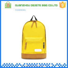 Hot sale simple new design polyester yellow girls school bag