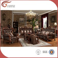 indian genuine leather sofas, sofa set classic wood frame leather sofa A131
