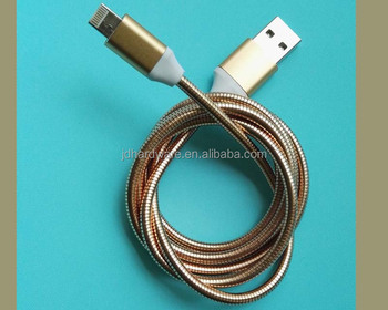 Acero inoxidable resorte flexible cables de carga USB