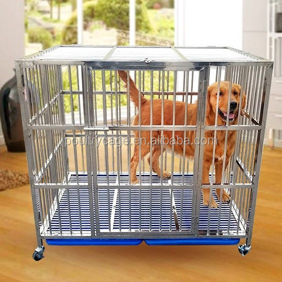 Single Door Foldable Stainless Steel Dog Kennel Cage With Divider (Cheap And Good Quality)